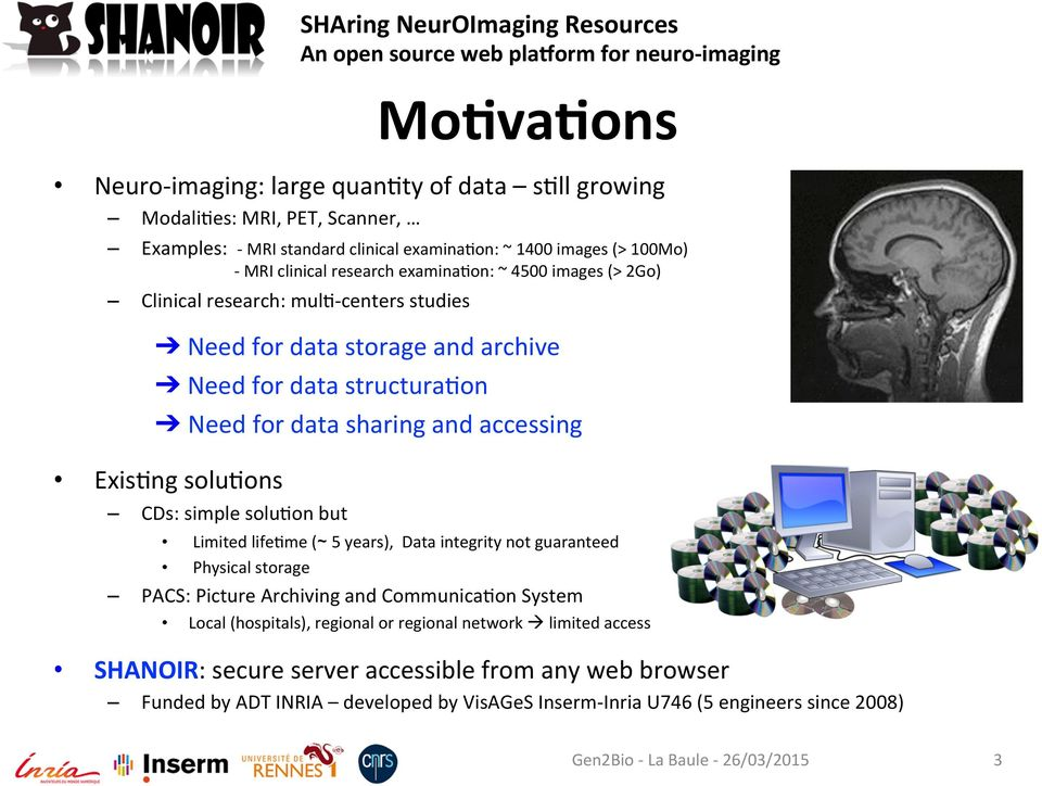 solu/on but SHAring NeurOImaging Resources Mo-va-ons Limited life/me ( 5 years), Data integrity not guaranteed Physical storage PACS: Picture Archiving and Communica/on System Local