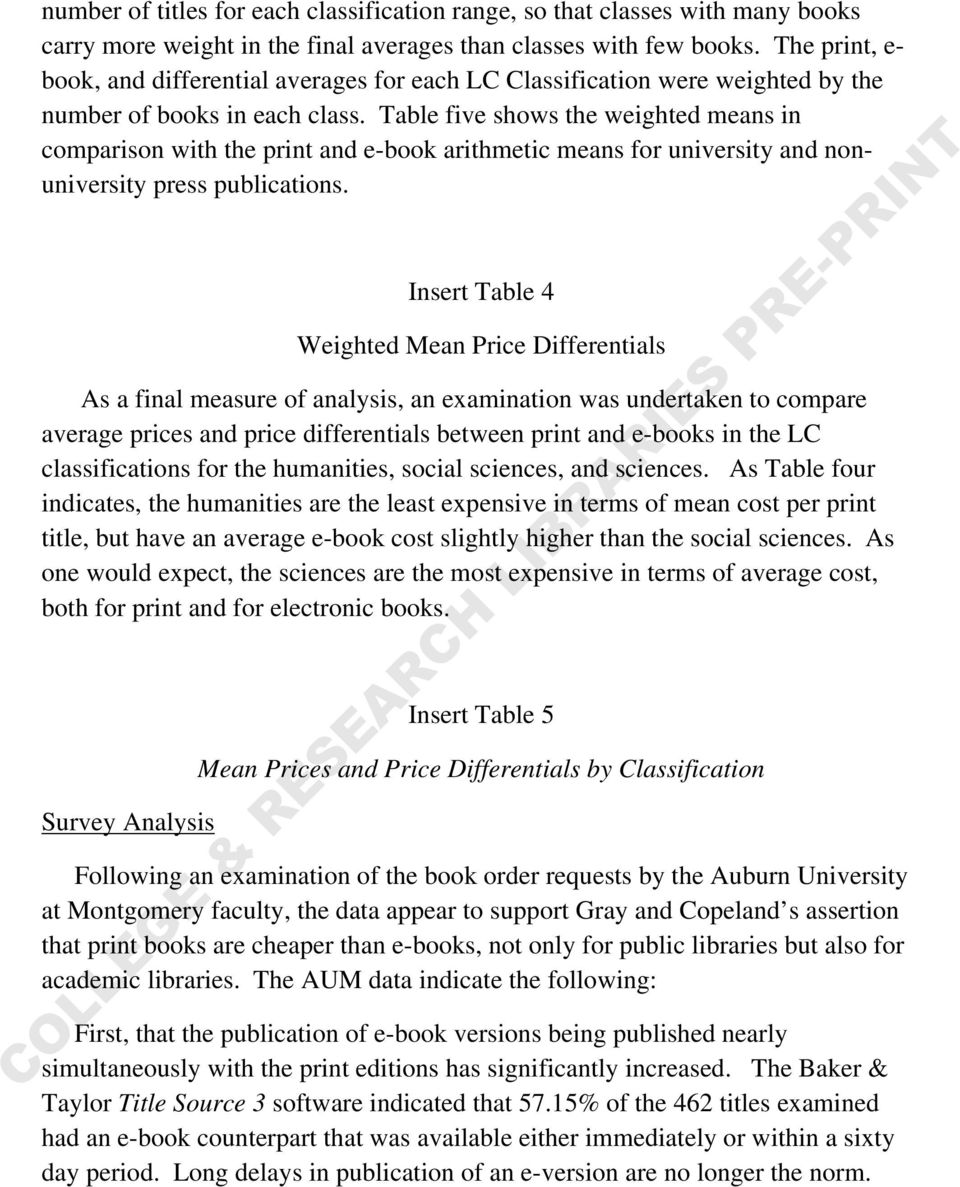 Table five shows the weighted means in comparison with the print and e-book arithmetic means for university and nonuniversity press publications.