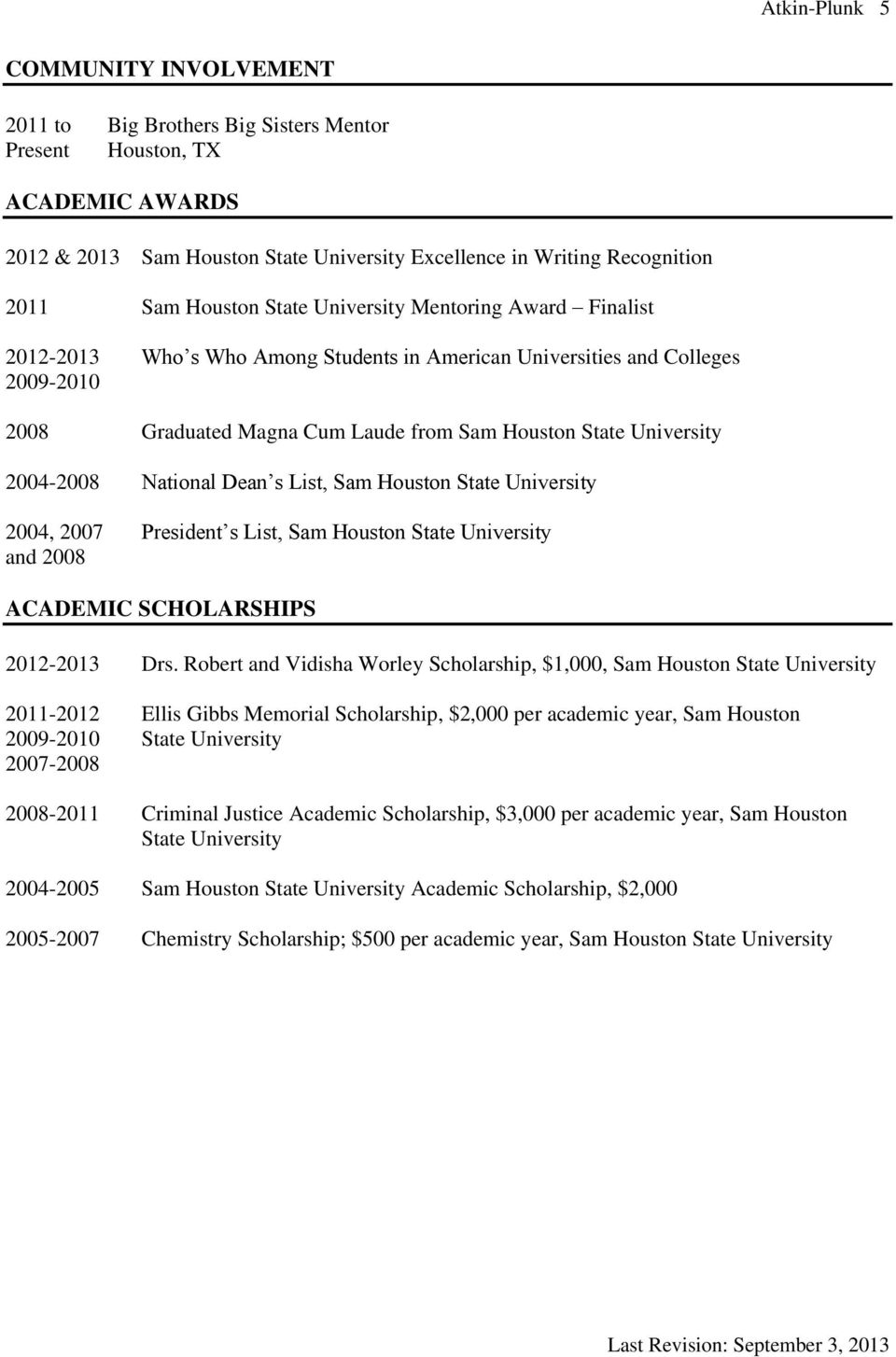 ACADEMIC SCHOLARSHIPS 2012-2013 Drs.