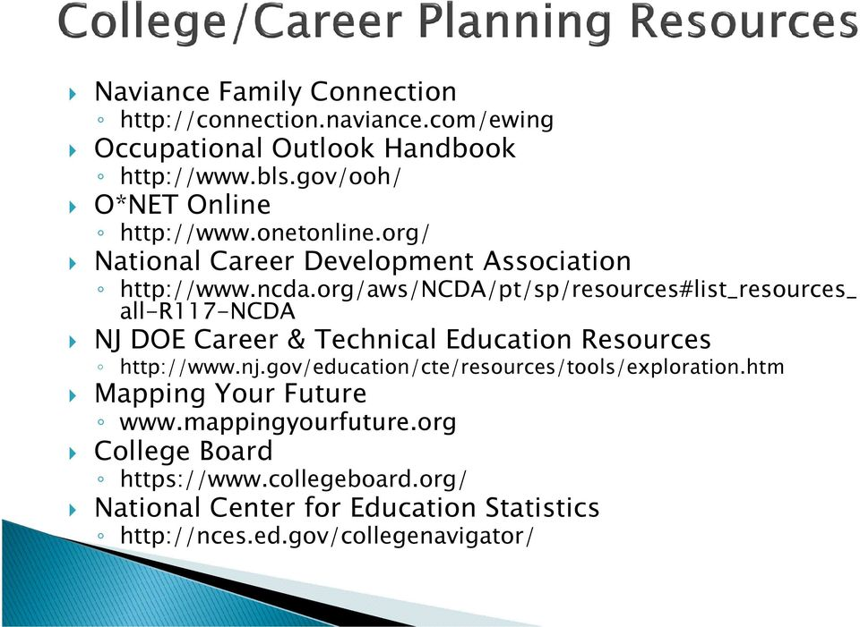 org/aws/ncda/pt/sp/resources#list_resources_ all-r117-ncda NJ DOE Career & Technical Education Resources http://www.nj.