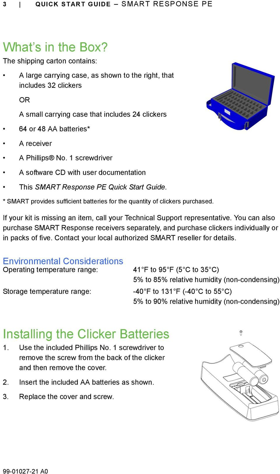 No. 1 screwdriver A software CD with user documentation This SMART Response PE Quick Start Guide. * SMART provides sufficient batteries for the quantity of clickers purchased.