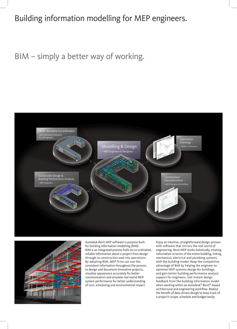 By adopting BIM, MEP firms can use this consistent information throughout the process to design and document innovative projects, visualise appearance accurately for better communication and simulate