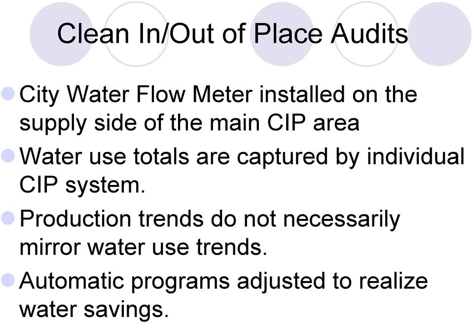 area! Water use totals are captured by individual CIP system.