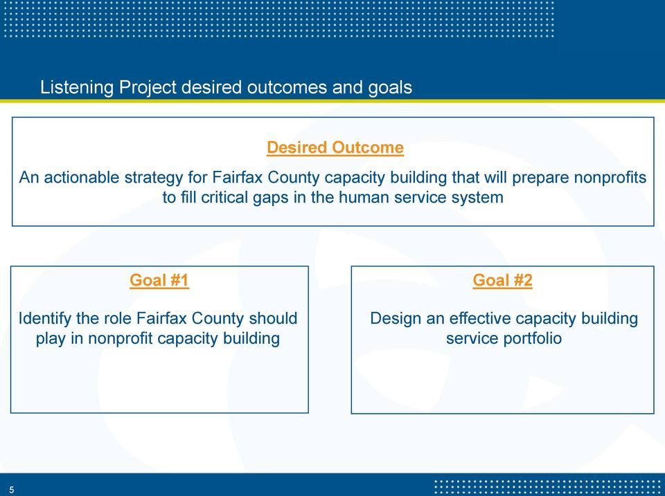 the human service system Goal #1 Identify the role Fairfax County should play in