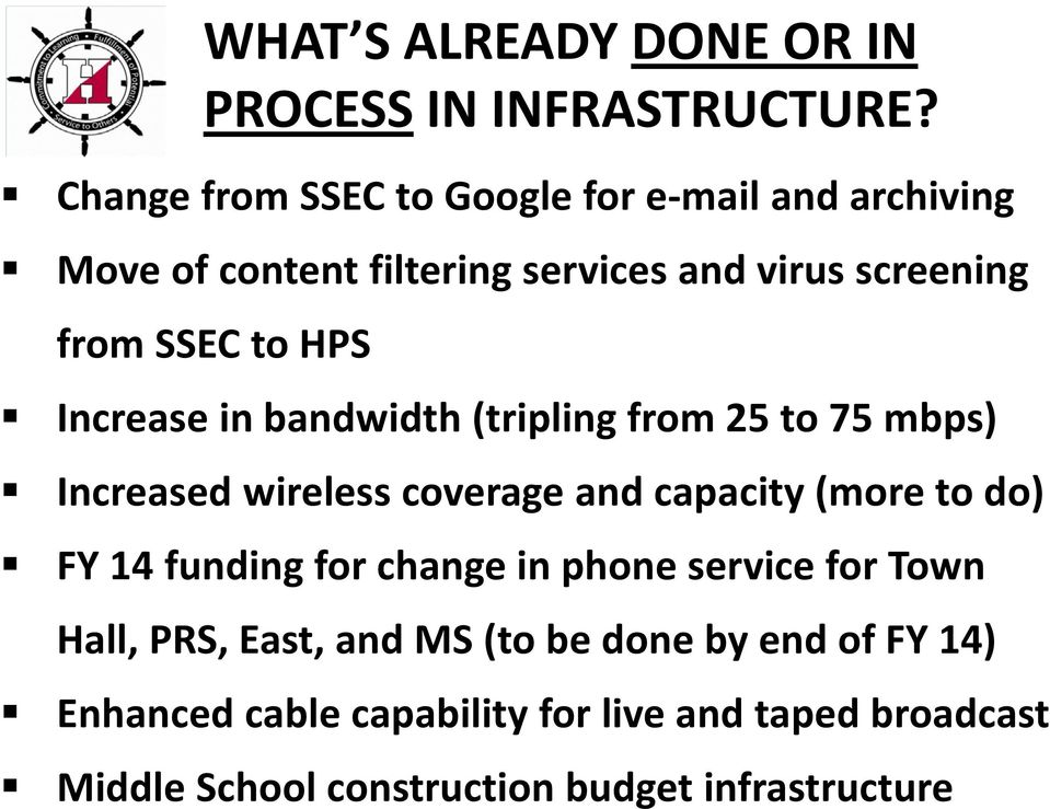 HPS Increase in bandwidth (tripling from 25 to 75 mbps) Increased wireless coverage and capacity (more to do) FY 14