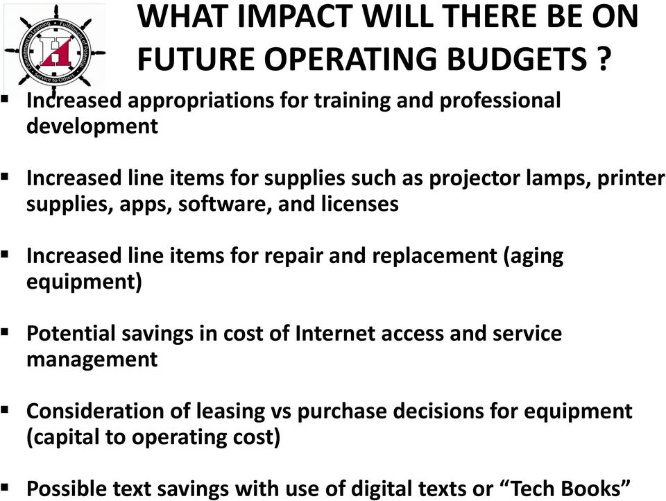 printer supplies, apps, software, and licenses Increased line items for repair and replacement (aging equipment) Potential