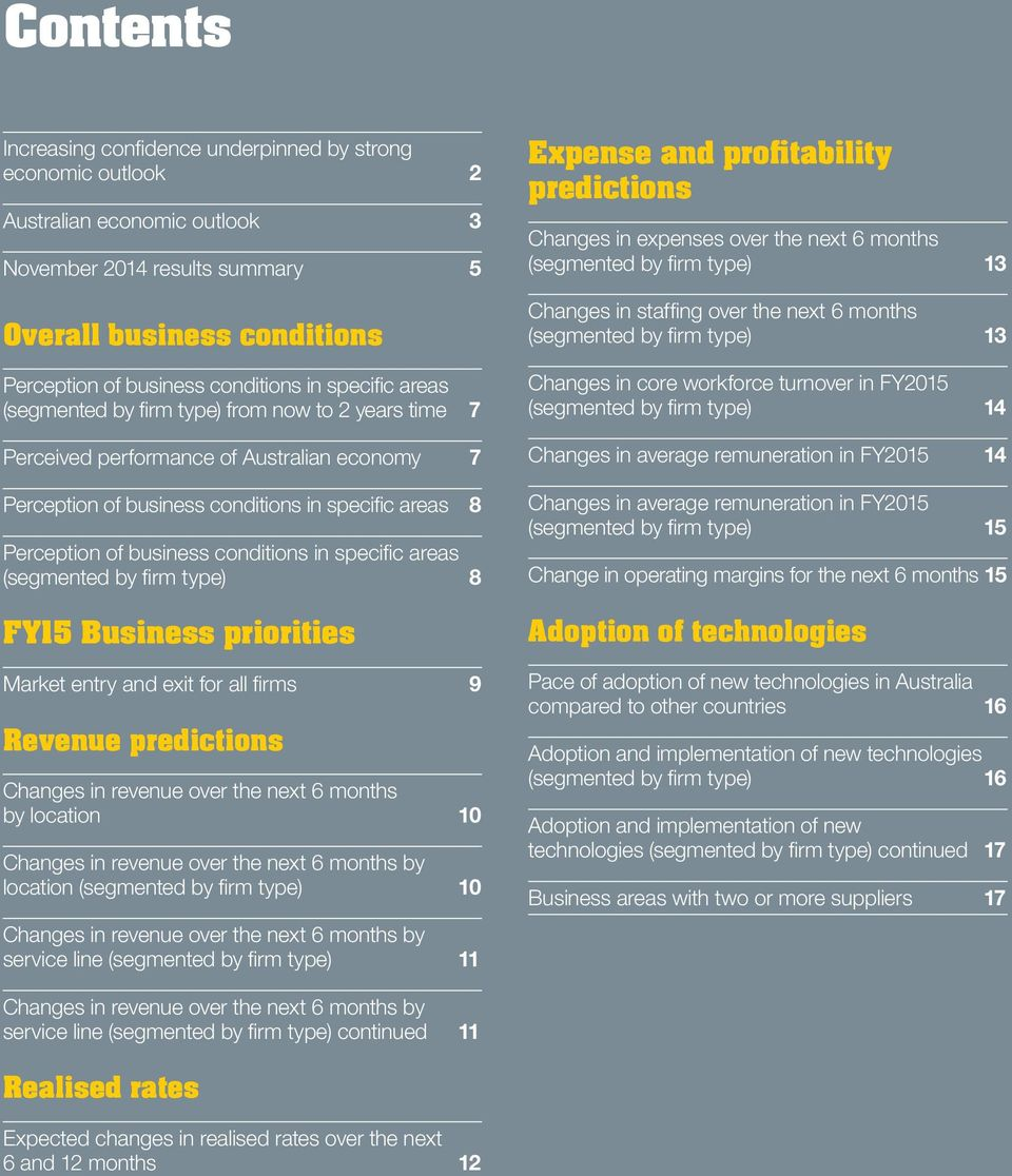 conditions in specific areas (segmented by firm type) 8 FY15 Business priorities Market entry and exit for all 9 Revenue predictions Changes in revenue over the next 6 months by location 10 Changes