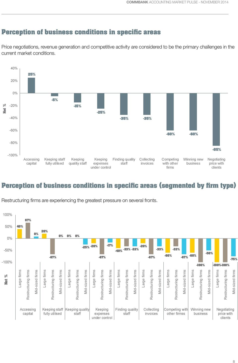 Competing with other Winning new business -85% Negotiating price with clients Perception of business conditions in specific areas (segmented by firm type) are experiencing the greatest pressure on
