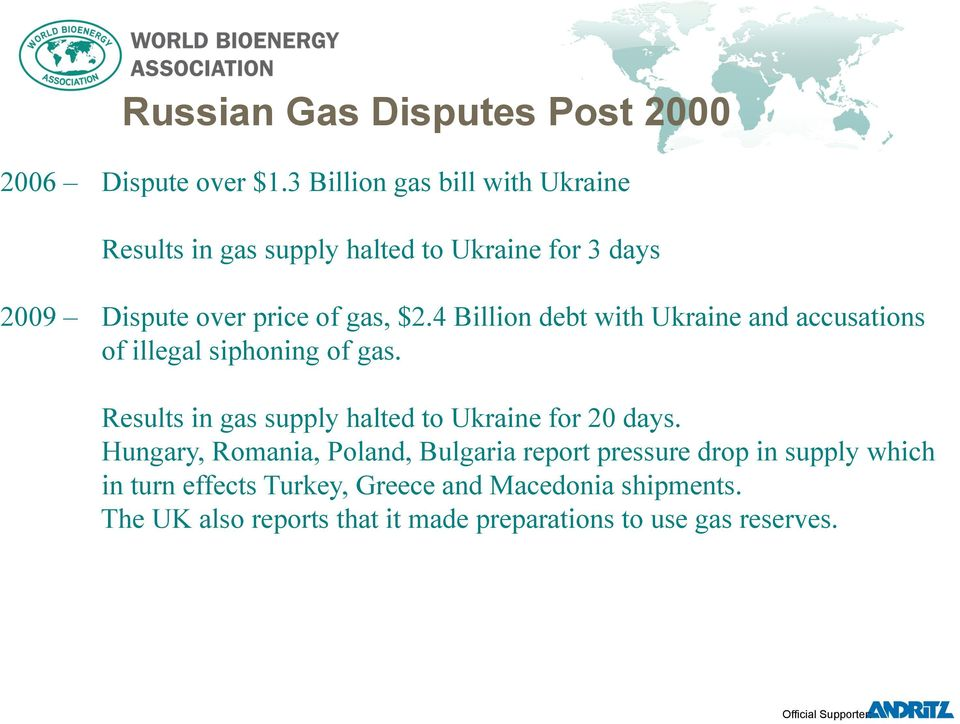 4 Billion debt with Ukraine and accusations of illegal siphoning of gas.
