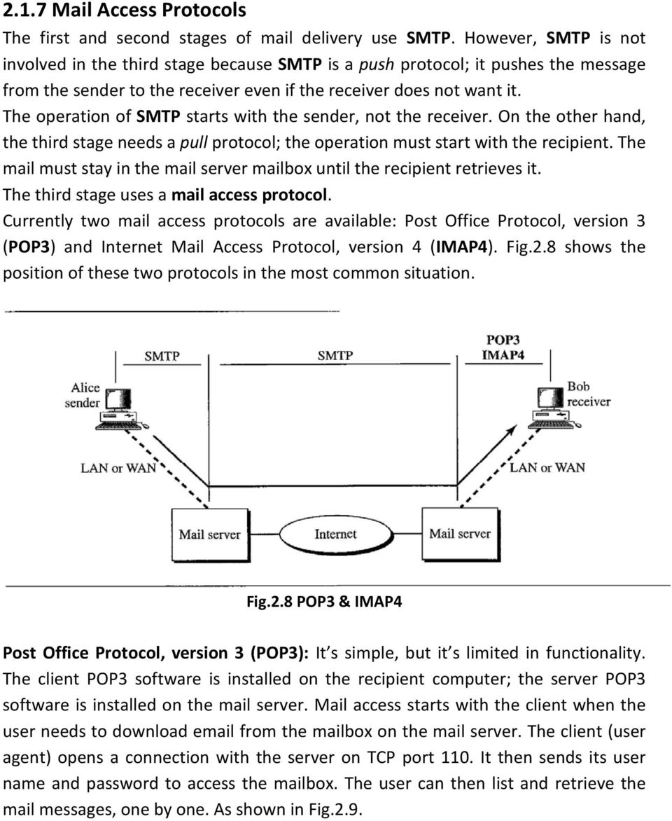 The operation of SMTP starts with the sender, not the receiver. On the other hand, the third stage needs a pull protocol; the operation must start with the recipient.