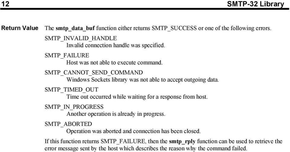 SMTP_CANNOT_SEND_COMMAND Windows Sockets library was not able to accept outgoing data. SMTP_TIMED_OUT Time out occurred while waiting for a response from host.