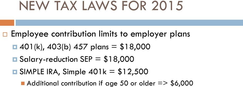 Salary-reduction SEP = $18,000 SIMPLE IRA, Simple 401k