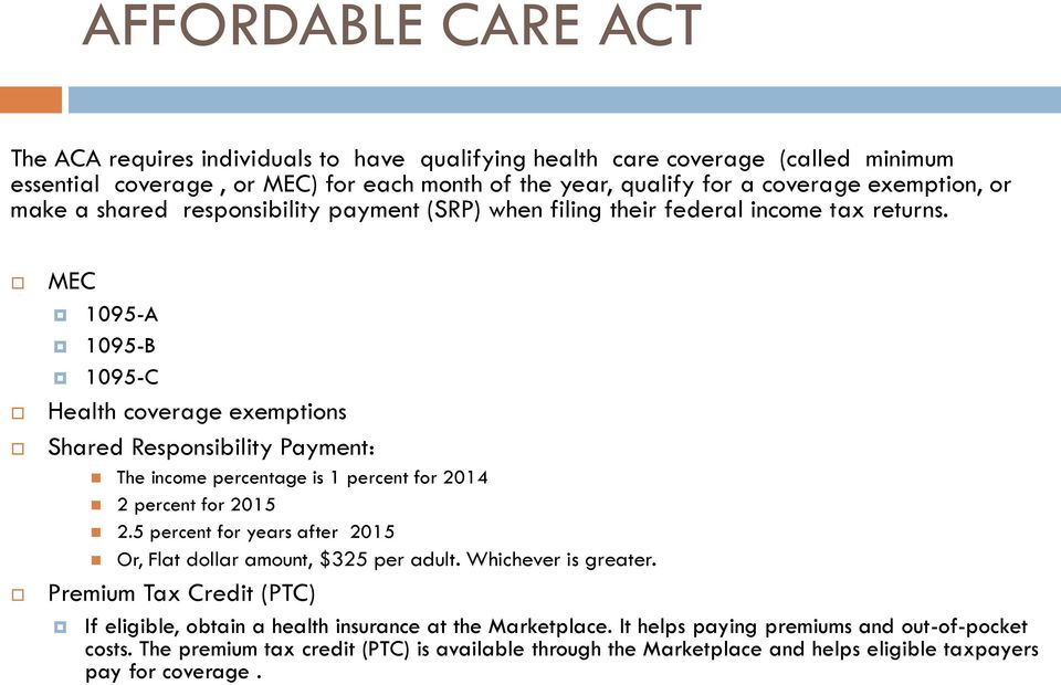 MEC 1095-A 1095-B 1095-C Health coverage exemptions Shared Responsibility Payment: The income percentage is 1 percent for 2014 2 percent for 2015 2.