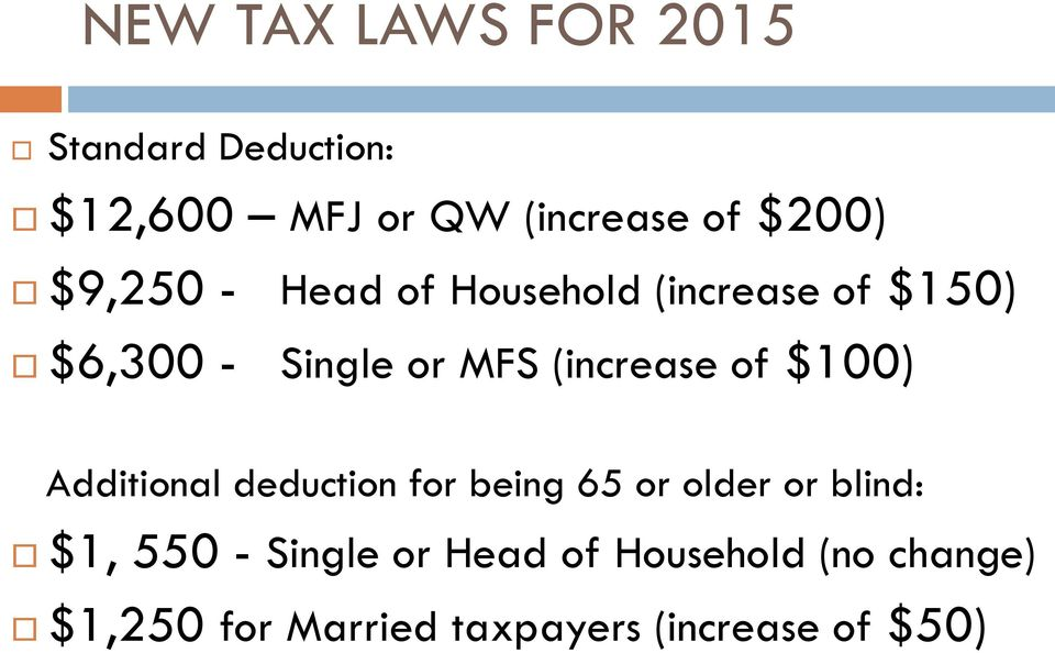 of $100) Additional deduction for being 65 or older or blind: $1, 550 - Single