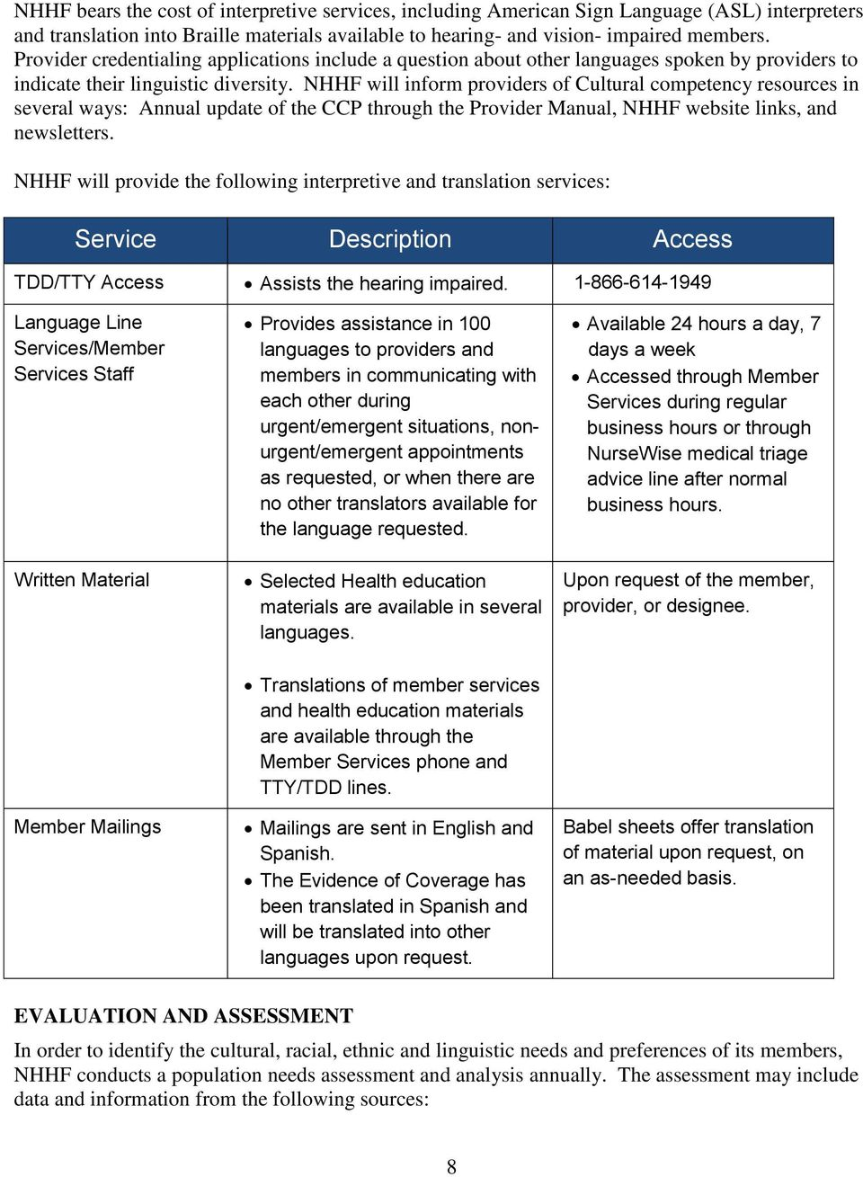 NHHF will inform providers of Cultural competency resources in several ways: Annual update of the CCP through the Provider Manual, NHHF website links, and newsletters.