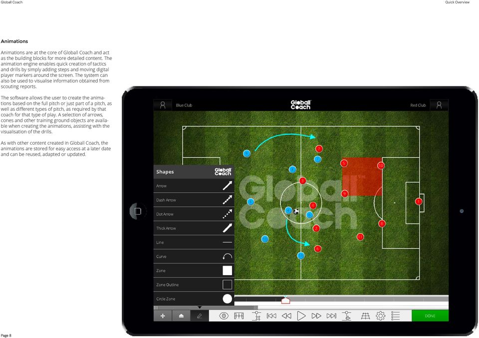 The system can also be used to visualise information obtained from scouting reports.