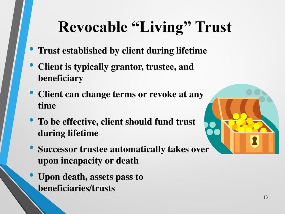time To be effective, client should fund trust during lifetime Successor trustee