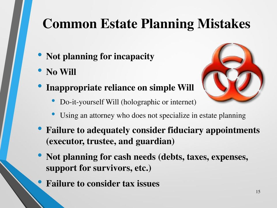 planning Failure to adequately consider fiduciary appointments (executor, trustee, and guardian) Not
