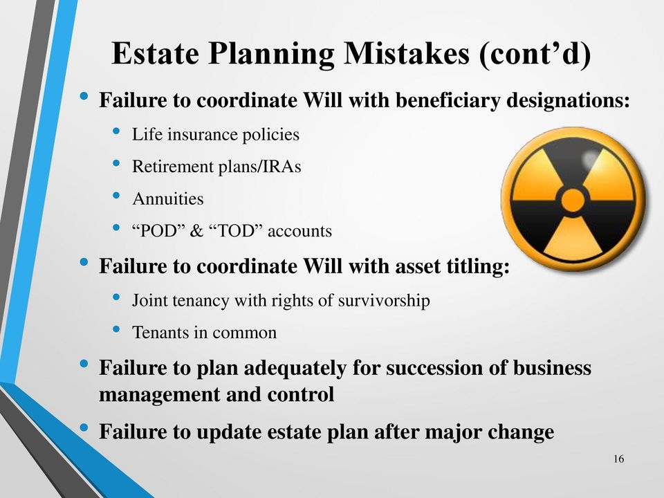 with asset titling: Joint tenancy with rights of survivorship Tenants in common Failure to plan