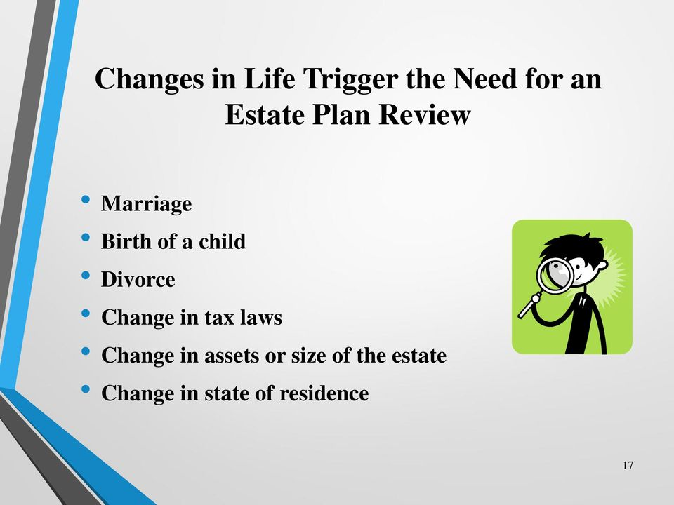 Divorce Change in tax laws Change in assets