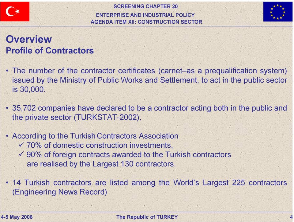 35,702 companies have declared to be a contractor acting both in the public and the private sector (TURKSTAT-2002).