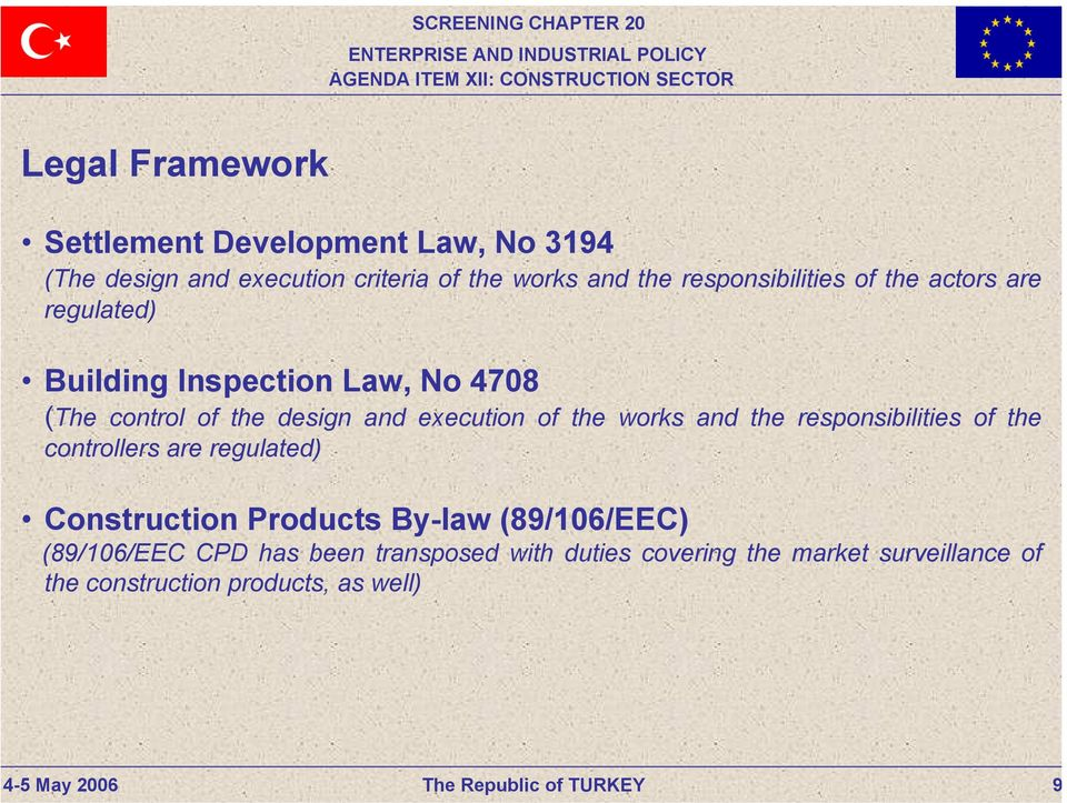 execution of the works and the responsibilities of the controllers are regulated) Construction Products By-law
