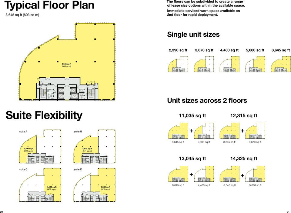 Single unit sizes 2,390 sq ft 3,670 sq ft 4,400 sq ft 5,680 sq ft 8,645 sq ft 8,645 sq ft (803 sq m) Unit sizes across 2 floors Suite Flexibility 11,035 sq ft