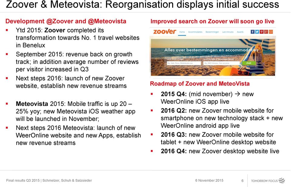 new revenue streams Meteovista 2015: Mobile traffic is up 20 25% yoy; new Meteovista ios weather app will be launched in November; Next steps 2016 Meteovista: launch of new WeerOnline website and new