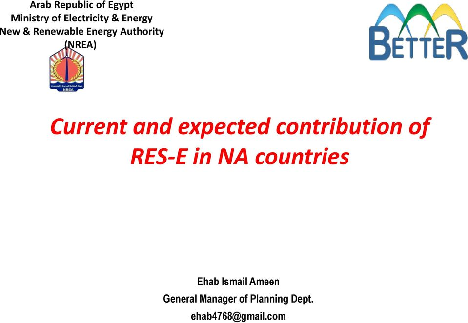 expected contribution of RES-E in NA countries Ehab