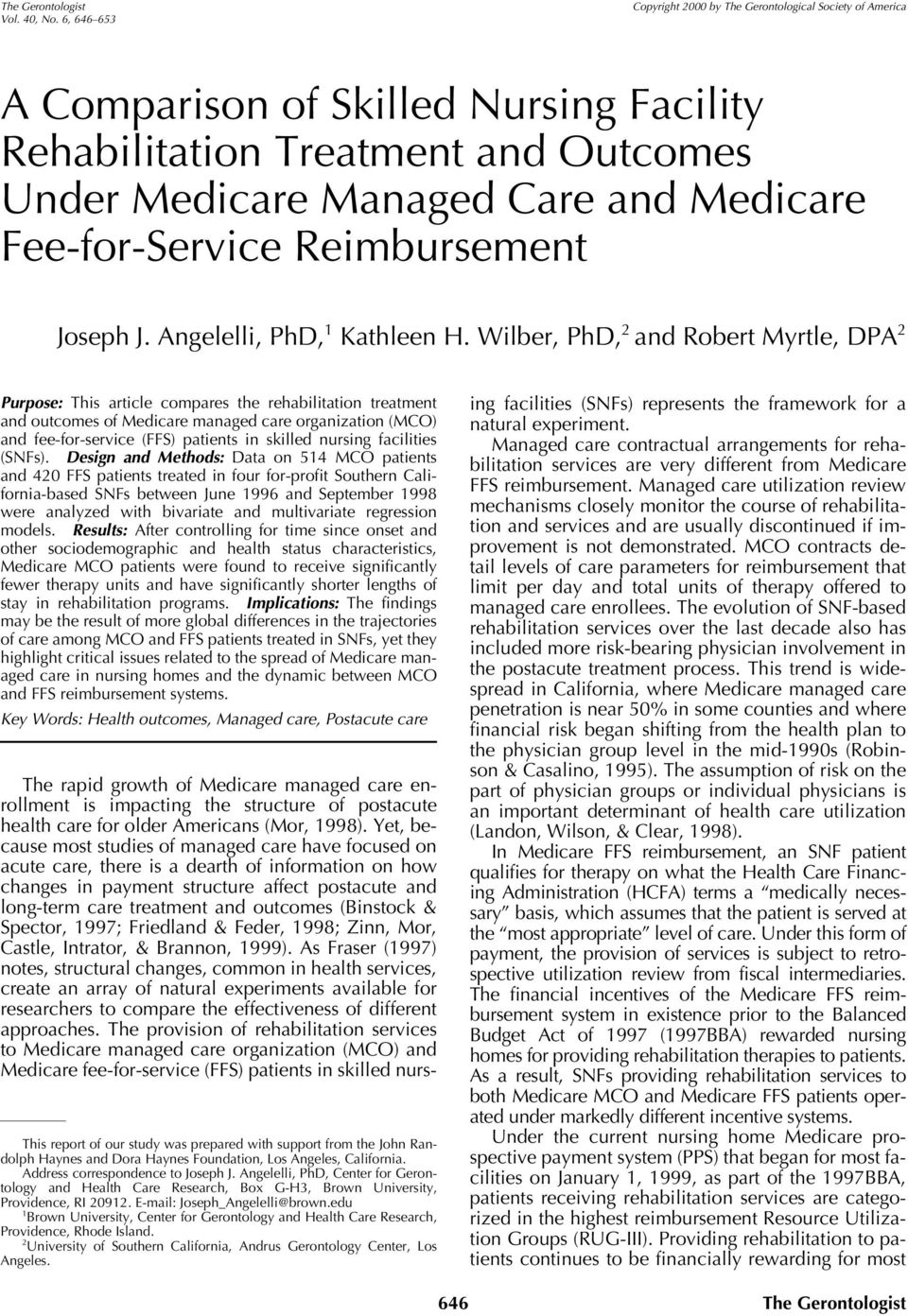Fee-for-Service Reimbursement Joseph J. Angelelli, PhD, 1 Kathleen H.