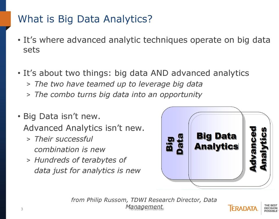 analytics > The two have teamed up to leverage big data > The combo turns big data into an opportunity Big Data isn t