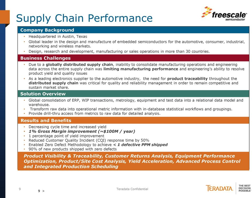 Business Challenges Due to a globally distributed supply chain, inability to consolidate manufacturing operations and engineering data across the entire supply chain was limiting manufacturing