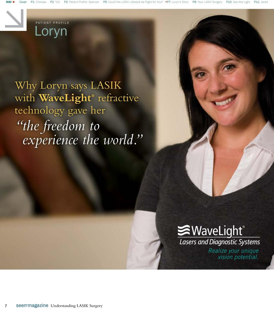 »P7: Loryn s Story P9: Your LASIK Surgery P10: See the Light P11: Jared PATIENT PROFILE Loryn