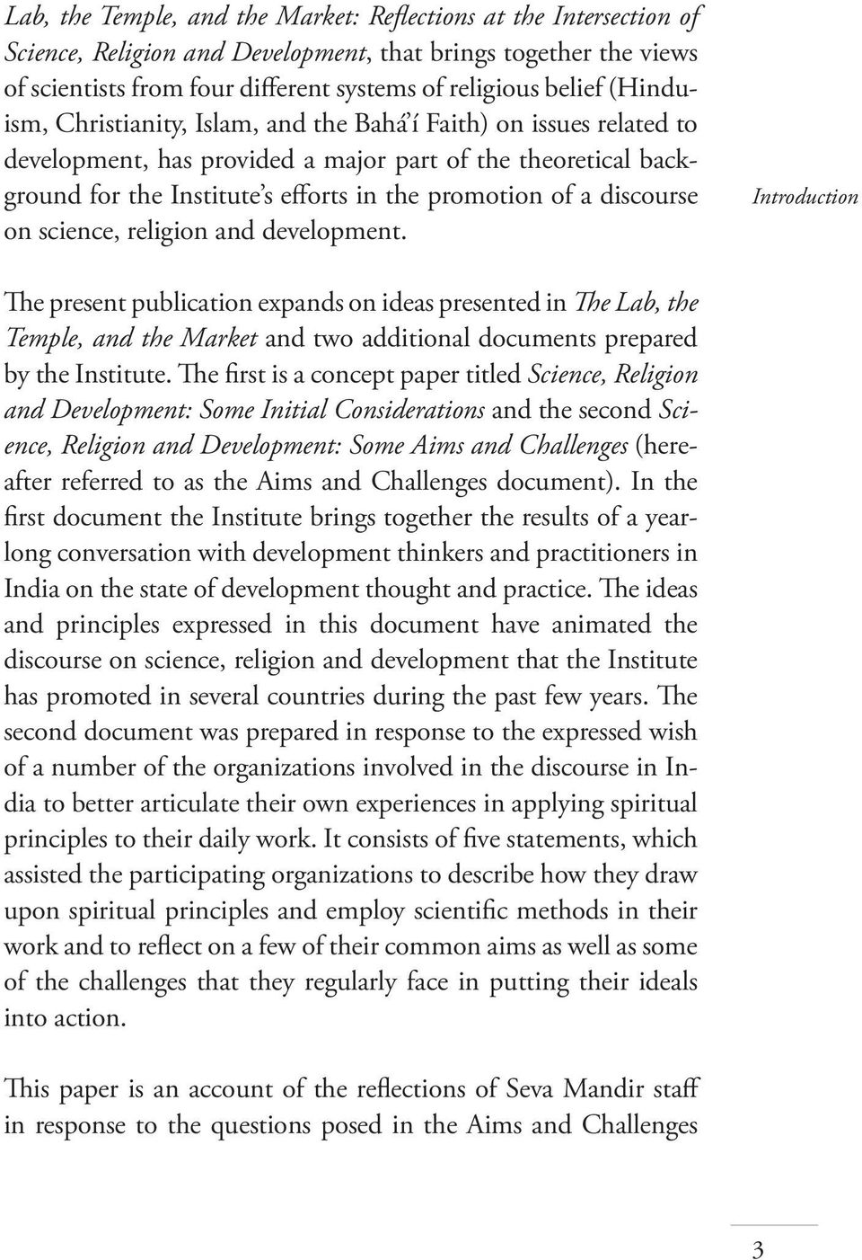 discourse on science, religion and development.