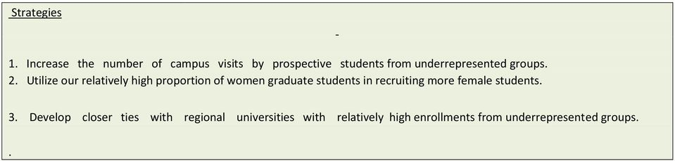 Utilize our relatively high proportion of women graduate students in