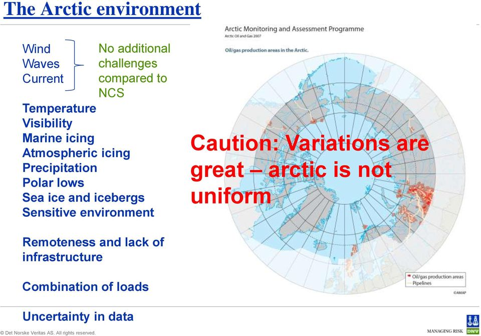 ice and icebergs Sensitive environment Caution: Variations are great arctic is not