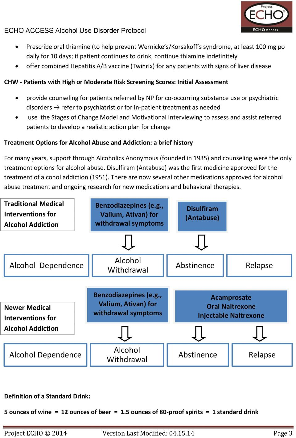 co-occurring substance use or psychiatric disorders refer to psychiatrist or for in-patient treatment as needed use the Stages of Change Model and Motivational Interviewing to assess and assist