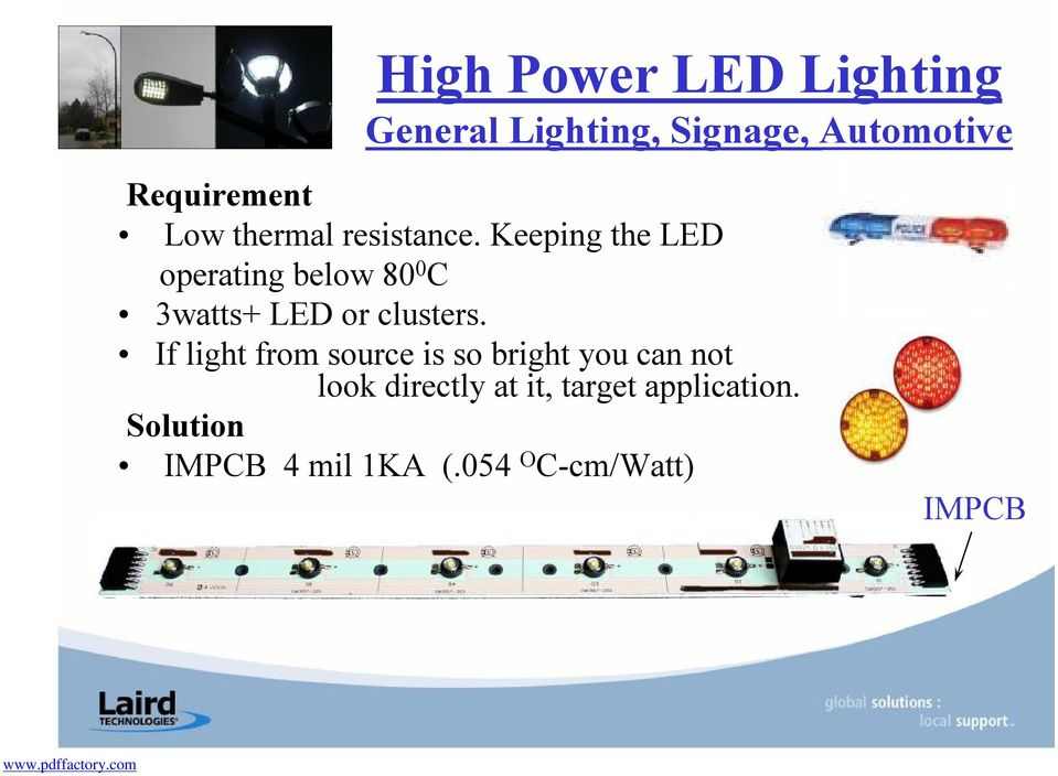 Keeping the LED operating below 80 0 C 3watts+ LED or clusters.