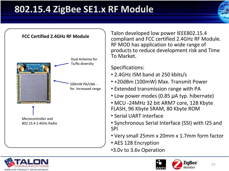 RF MOD has application to wide range of products to reduce development risk and Time To Market. Specifications: 2.4GHz ISM band at 250 kbits/s +20dBm (100mW) Max.