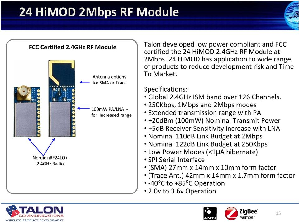 24 HiMOD has application to wide range of products to reduce development risk and Time To Market. Specifications: Global 2.4GHz ISM band over 126 Channels.