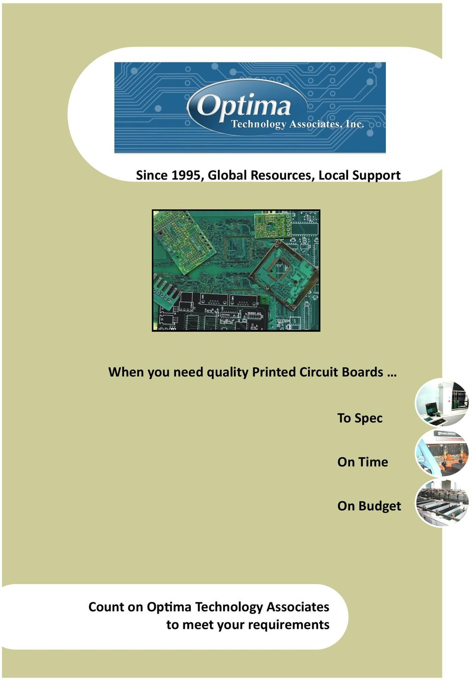 To Spec On Time On Budget Count on Optima