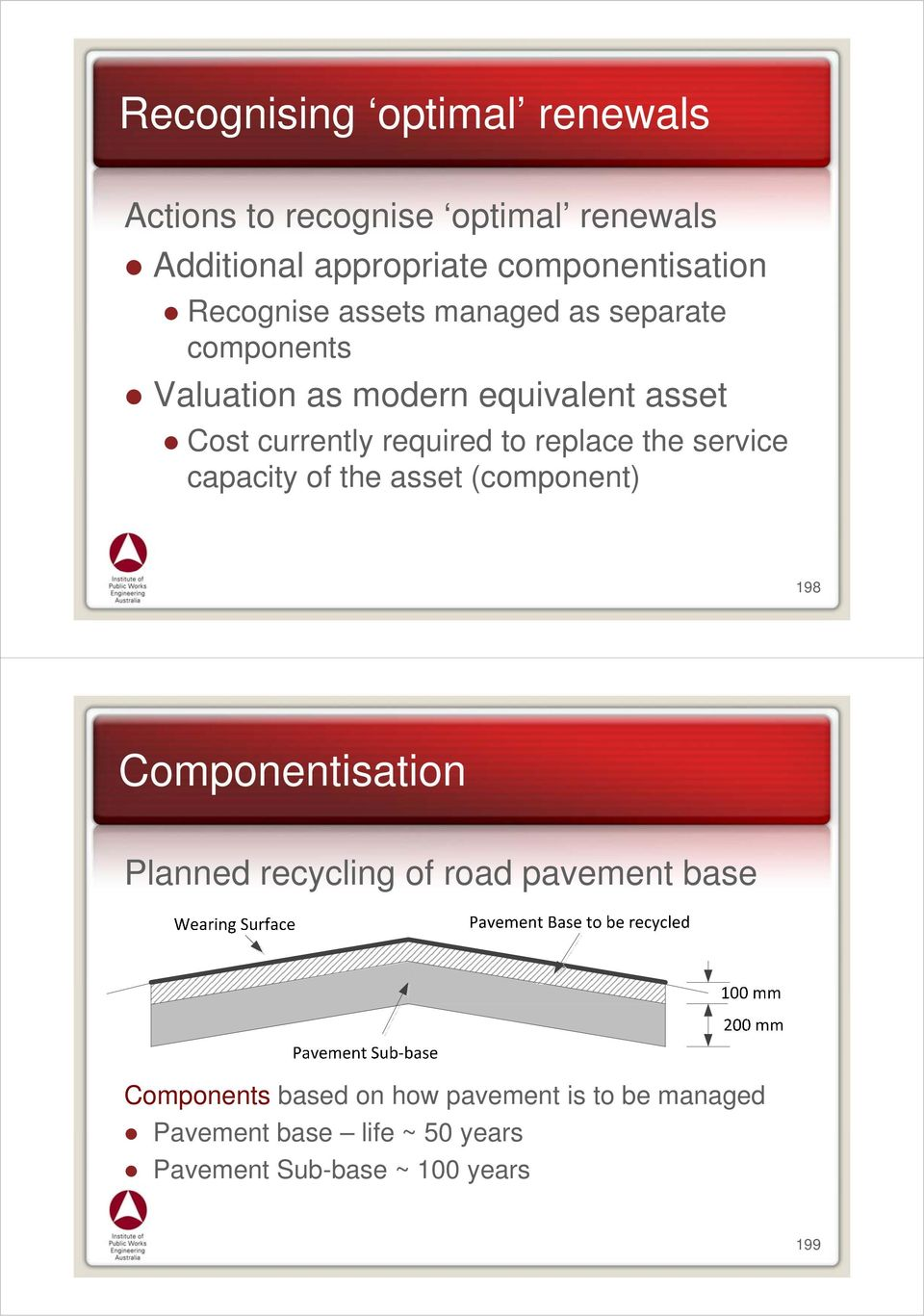replace the service capacity of the asset (component) 198 Componentisation Planned recycling of road pavement