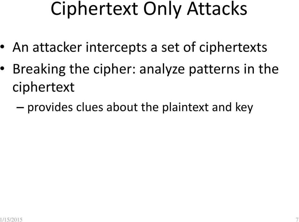 cipher: analyze patterns in the ciphertext