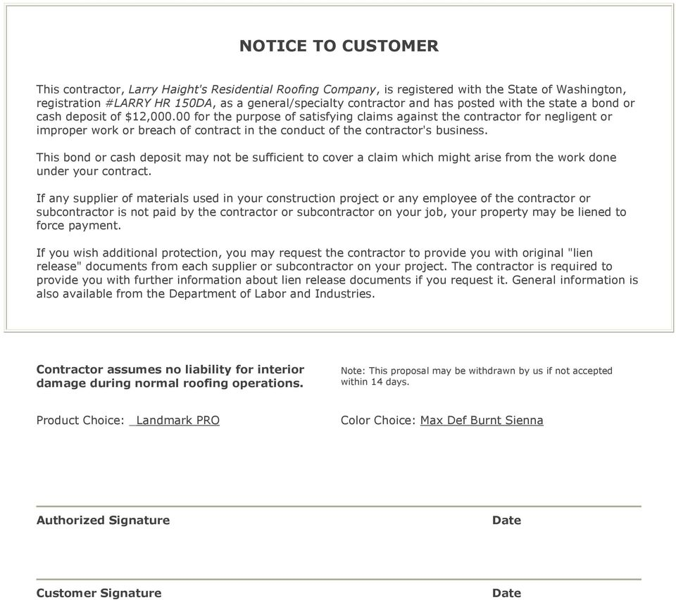 00 for the purpose of satisfying claims against the contractor for negligent or improper work or breach of contract in the conduct of the contractor's business.