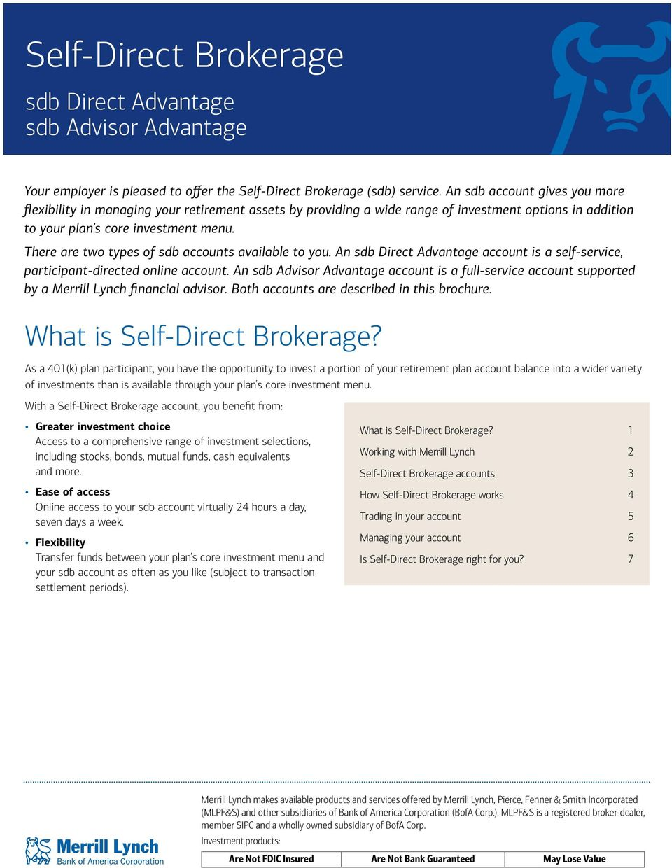 There are two types of sdb accounts available to you. An sdb Direct Advantage account is a self-service, participant-directed online account.