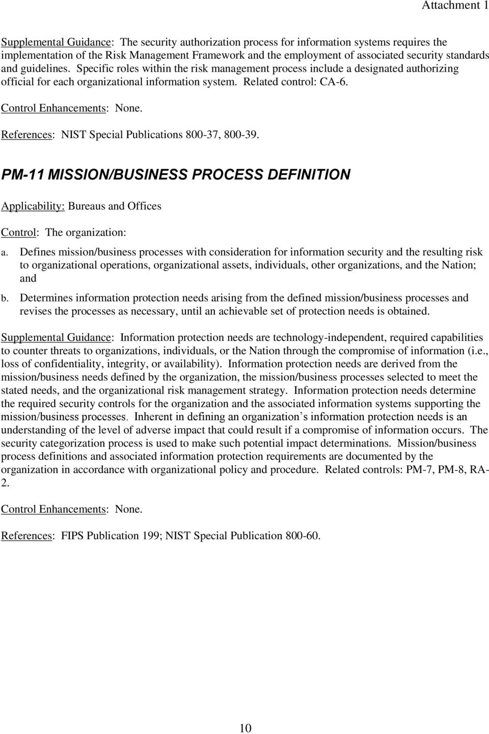 References: NIST Special Publications 800-37, 800-39. PM-11 MISSION/BUSINESS PROCESS DEFINITION Control: The organization: a.