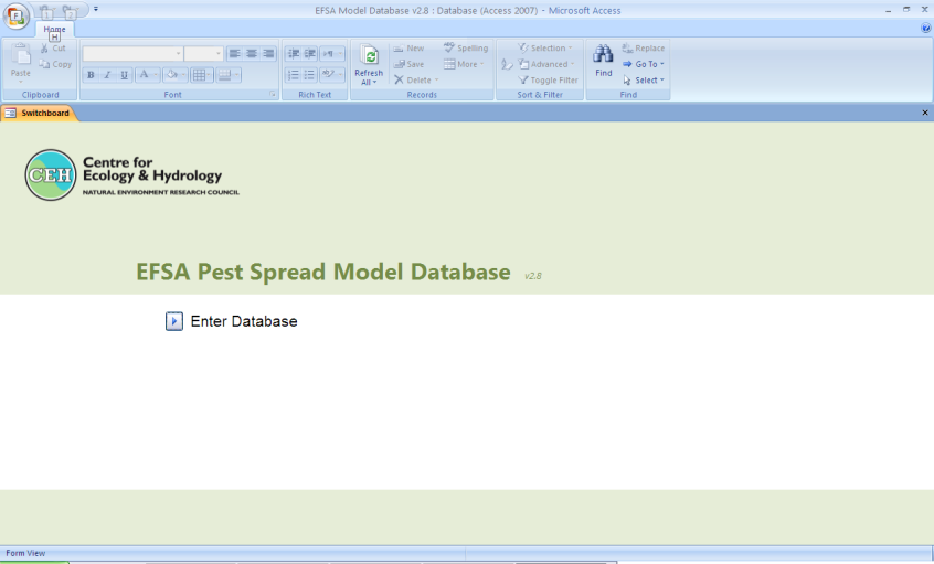 Inventory and review of quantitative s for spread of plant pests for To open the database within Microsoft Access, double click on the EFSA_Electronic_Model_Inventory.accdb file.
