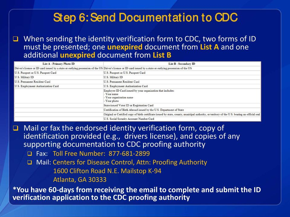 , drivers license), and copies of any supporting documentation to CDC proofing authority Fax: Toll Free Number: 877-681-2899 Mail: Centers for Disease Control, Attn: