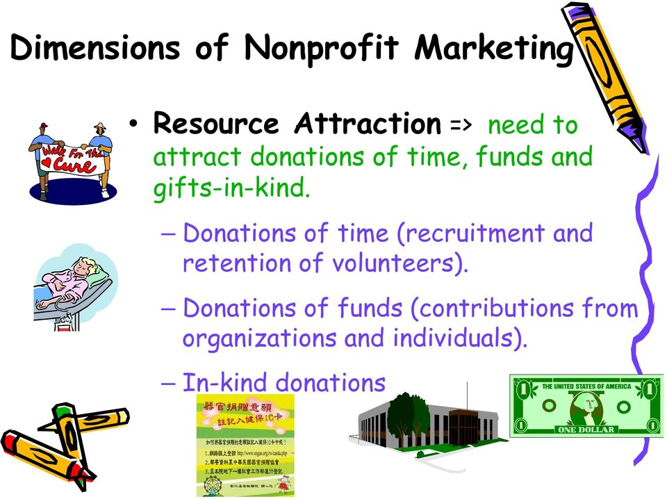 Donations of time (recruitment and retention of volunteers).