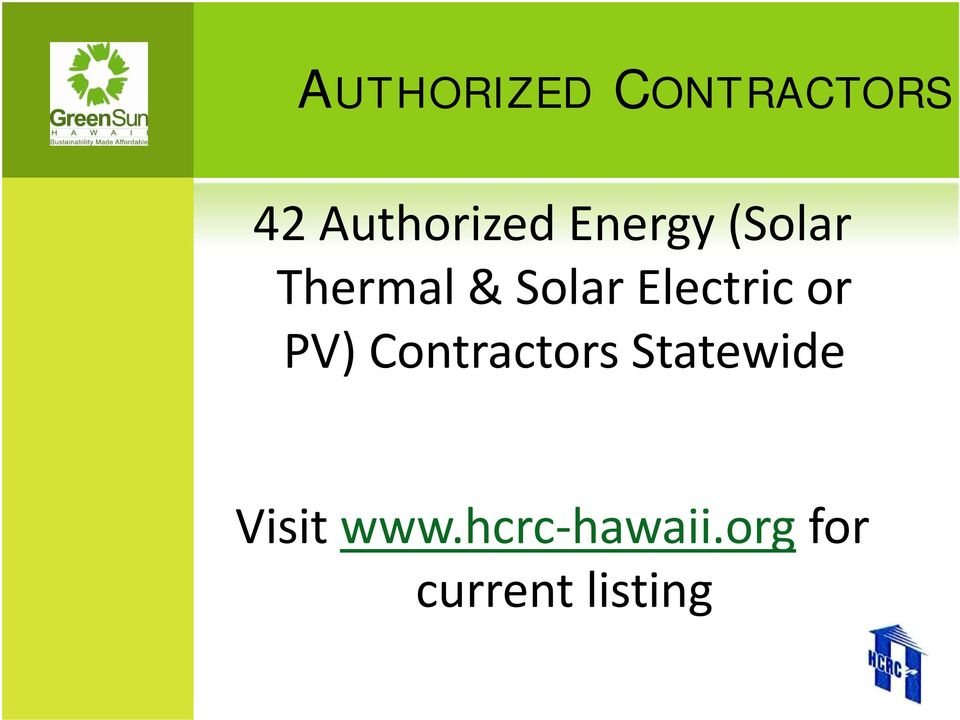 Electric or PV) Contractors Statewide